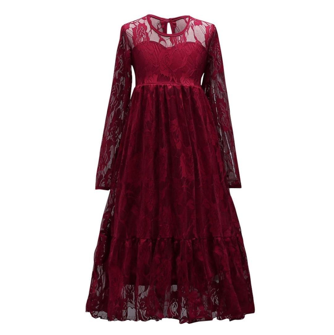 Robe de soirée, Paolian Fille d'enfants Princesse Longue Robe Dentelle Floral Manche longue Pour 4-14 Ans
