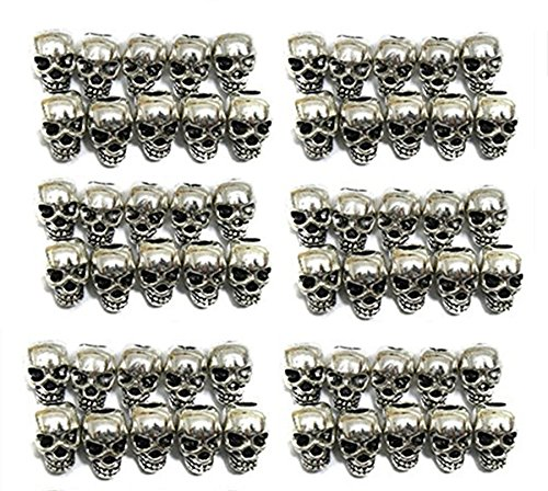 QTMY 60 PCS 4mm Macroporous Skull Spacer Beads for Jewelry Making Supplies in Bulk -