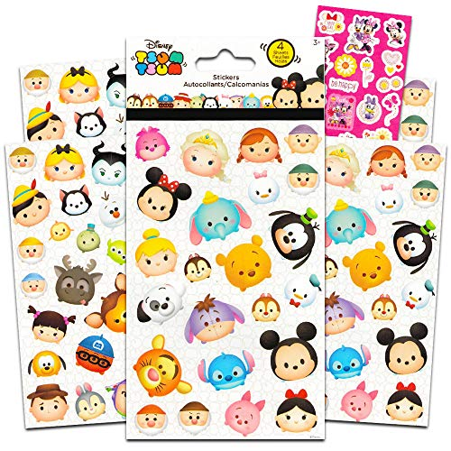Kids Stickers Character - Disney Tsum Tsum Stickers - 4 Sheets of Stickers Featuring Mickey Mouse, Minnie Mouse, also Featuring Tsum Tsum Characters from Frozen, Toy Story, Monsters Inc and Many More by Disney Studios