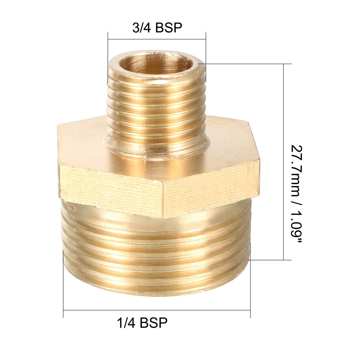 uxcell Brass Pipe Fitting Reducing Hex Nipple 3//4 BSP Male X 1//4 BSP Male Adapter