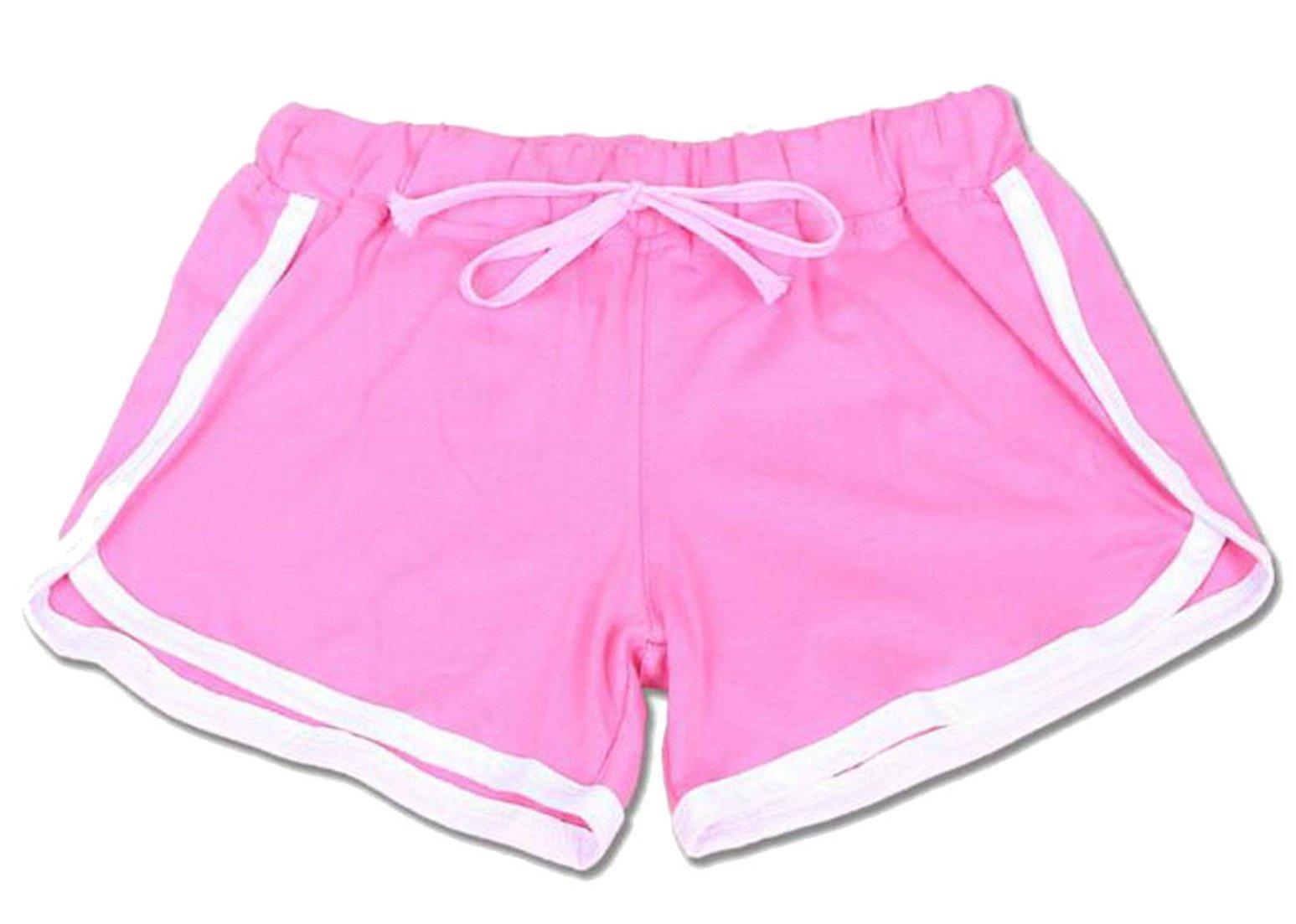 Wofupowga Womens Elastic Waist Casual Slim Track Summer Sport Hot Shorts Pink Medium