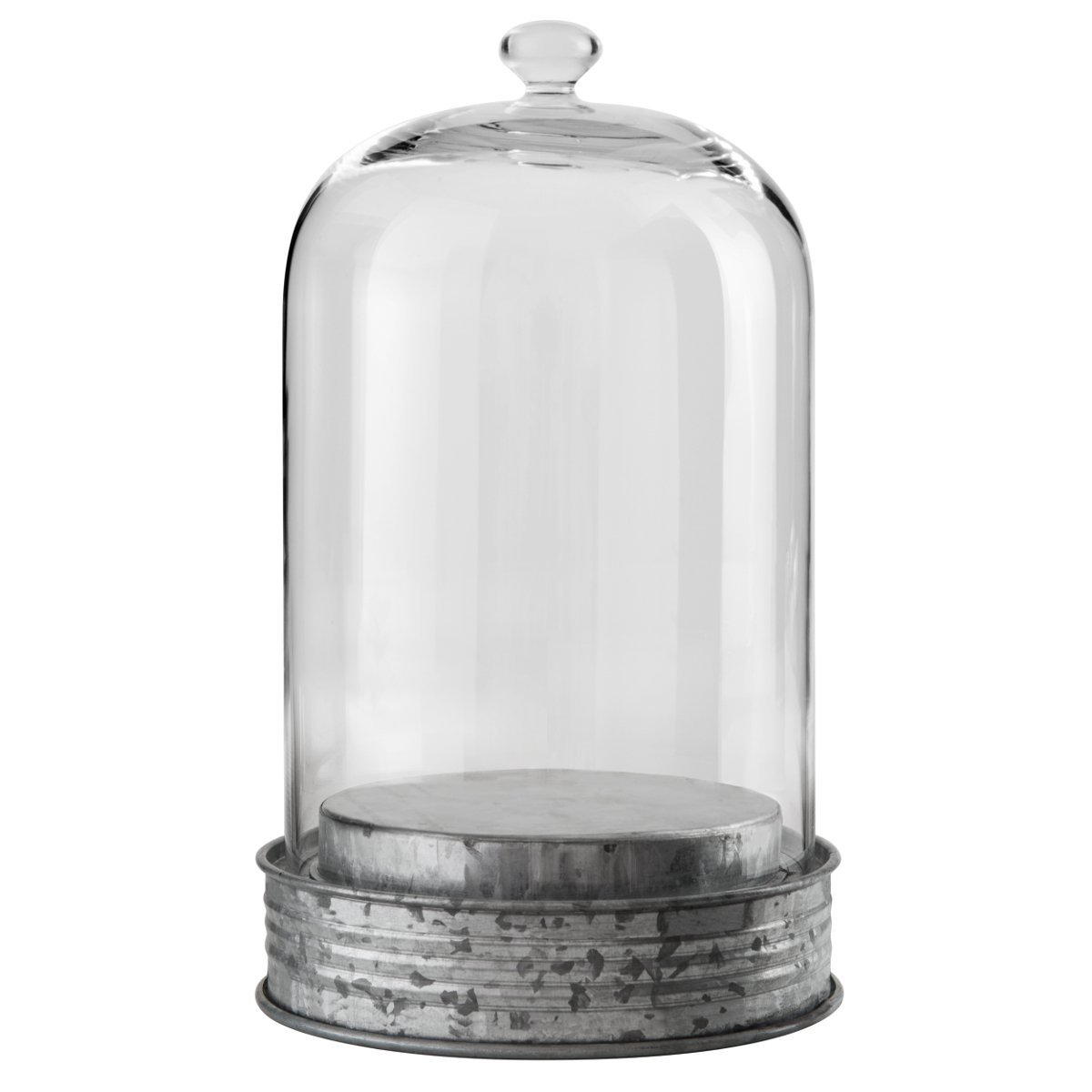 ARTLAND Oasis Glass 11.5 Inch Large Botanical Cloche with Galvanized Base by ARTLAND