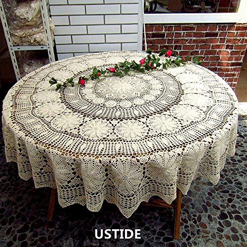 USTIDE 63-inch Round Crochet Lace Tablecloth Beige Gorgeous Dining Living Room Kitchen Tablecloth