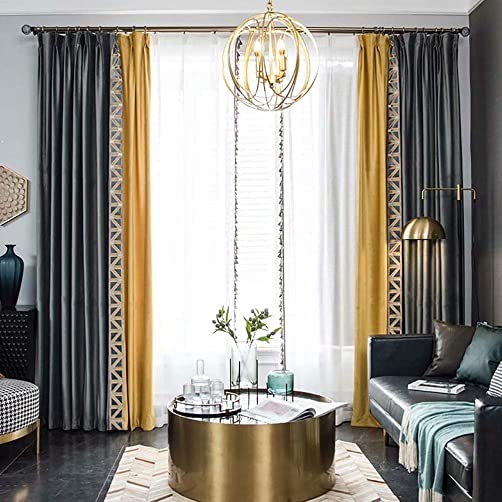 Leadtimes Grey Velvet Curtain Silky Touch Luxury Splicing Thermal Insulated Grommet Window Treatment 2 Panels