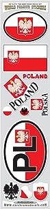 Car Chrome Decals Poland 11 Stickers Set Polish Polska Flag Decals Bumper car auto Bike Laptop STS-PL