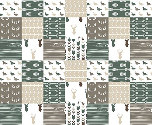Patchwork Fabric Duck Wholecloth - Hunting Fishing Outdoors (Dark Sage) by Littlearrowdesign...