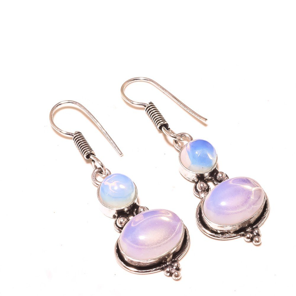 White Opalite Sterling Silver Overlay 10 Grams Earring 2 Long Girls Gift Jewelry