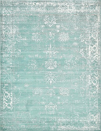 (Turquoise 9' x 12' FT Canterbury Rug Modern Traditional Vintage Inspired Overdyed Area Rugs)