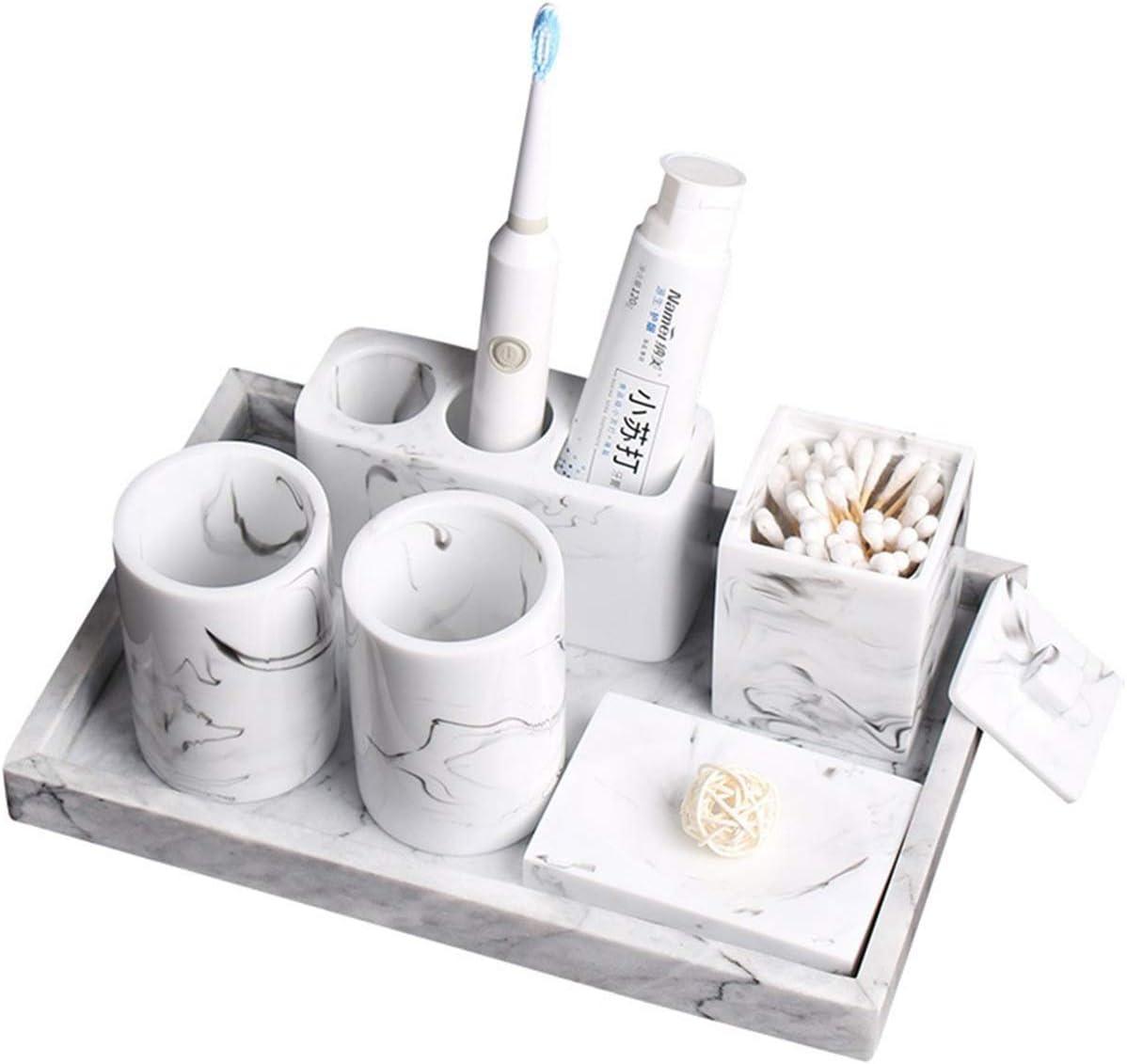 Yiyida 5-teilig Badezimmer Set mit Marmor Effekt Seifenspender Zahnb/ürstenhalter Zahnputzbecher Seifenschale Bad Accessoire Set f/ür Hotel /& Hause