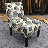 Altrobene Fabric Armless Contemporary Accent Chair Slipper Side Chair for Living Room Bedroom with Solid Wood Legs & Removable Washable Slipcover (Lime Green)