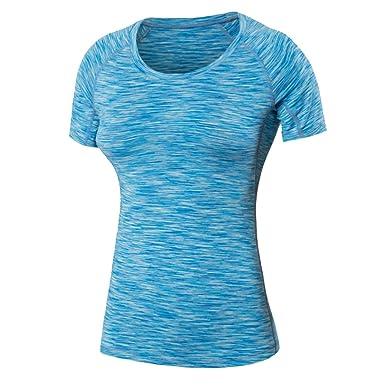 Damen T-Shirt Sport Shirt Atmungsaktiv Base Layer Funktionsshirt Laufen Fitness  Gym  Amazon.de  Bekleidung f01feeaeab
