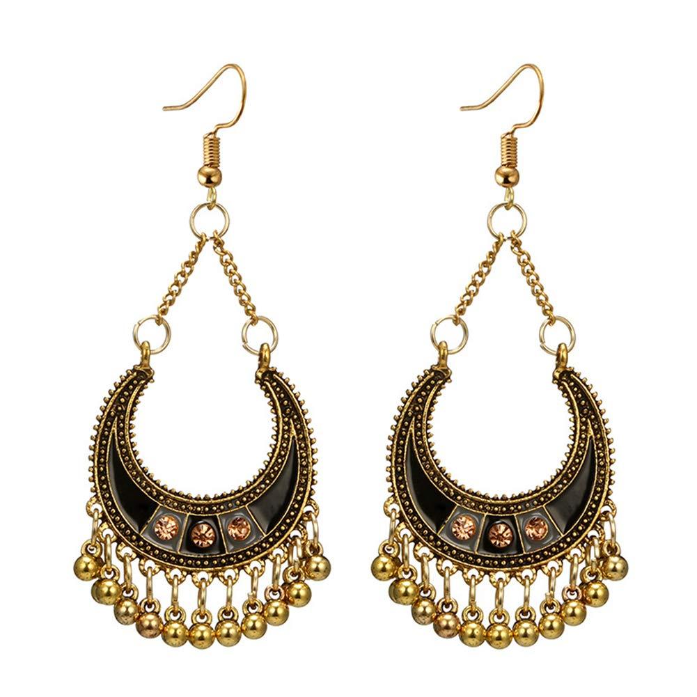 GrmeisLemc Women's Hook Earrings, Vintage Bohemian Semicircle Bells Tassel Dangle Hook Earrings Golden+Black