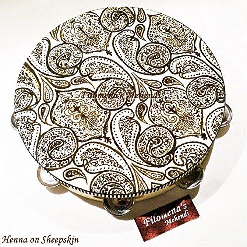 Henna Tambourine Inspired by Prince Paisley Tambourine Painted With Natural Henna