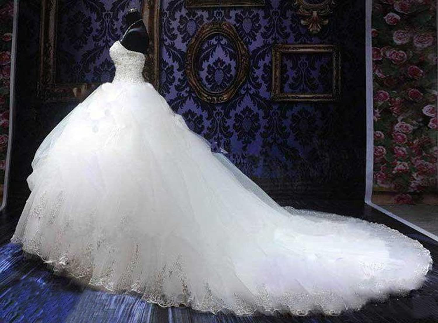 Lovelybride Gorgeous Beaded Gold Appliques Puffy Wedding Ball Gown ...
