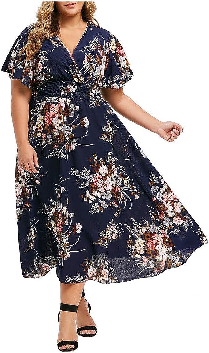 Amazon.com: WILLBE Women\'s Casual Floral Dress,Women\'s Plus ...