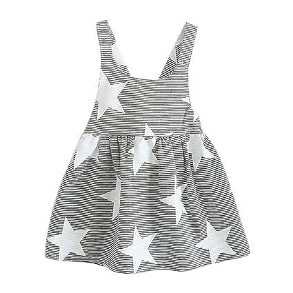 Vestido niña ❤ Amlaiworld Vestido de fiesta a rayas sin mangas de verano para niñas