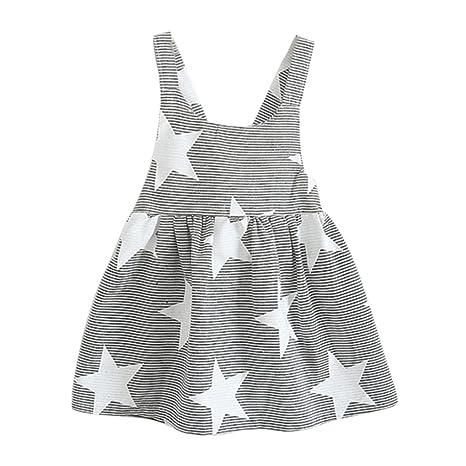 08911fc8041ad Vestido niña ❤ Amlaiworld Vestido de fiesta a rayas sin mangas de verano  para niñas