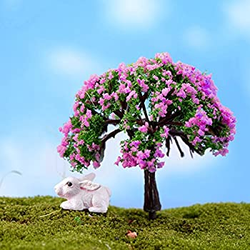 Techinal 1Pcs Artificial Mini Trees, Miniatures Pink Flower Tree For Fairy  Garden Dollhose DIY Decor