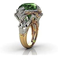 خمر 925 الفضة الاسترليني الزمرد خاتم كوكتيل خواتم بيضوي قص الأخضر جوهرة مكعب زركونيا الذكرى السنوية خاتم تشيكوسلوفاكيا…