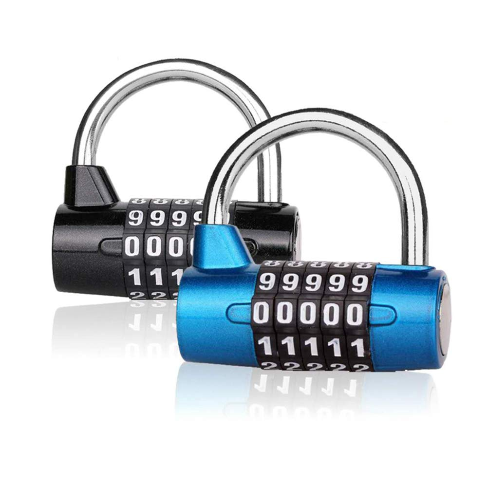 Number Lock Combination Padlock Locker Okelux Set Your Own 5 Digit for Gym, School, Toolbox, Cabinet, Drawer, Office, Luggage, Fence (2-Pack)