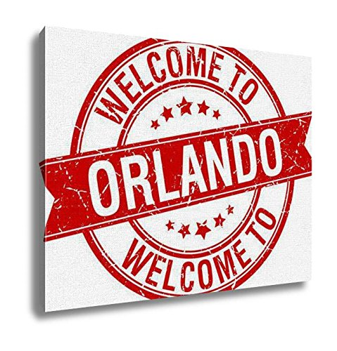 Orlando Painting - Ashley Canvas Welcome To Orlando Red Round Ribbon Stamp Wall Art Decoration Picture Painting Photo Photograph Poster Artworks, 20x25