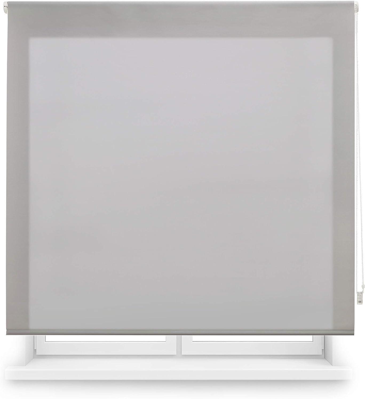 Blindecor Ara - Estor enrollable translúcido liso, Gris Plata, 140 x 175 cm (ancho x alto)