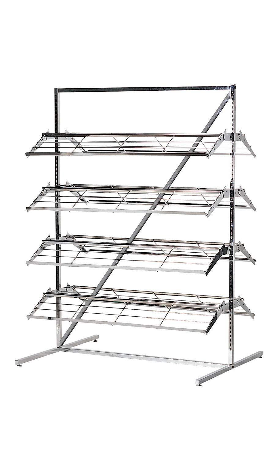 shoes Merchandiser 8 Shelf 60-80 Pair Floor Display Rack 66H x 37W x 48L Inches