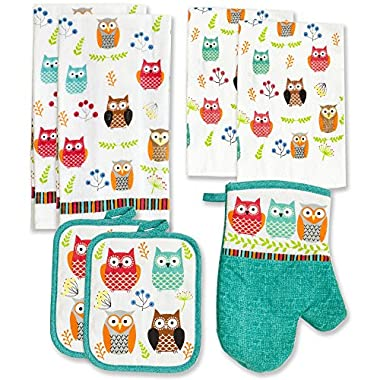 Kitchen Towel Linen Set of 7 Pieces Owl Design | 2 Kitchen Towels 2 Potholders, 1 Oven Mitt and 2 Dishcloth