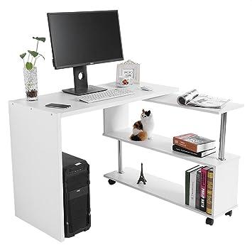 GOTOTOP 360 Grados Giratorio Ajustable Escritorio de Esquina para Computadora con Estantes de Libros Mesa para Ordenador Portátil en Forma L (Blanco): ...