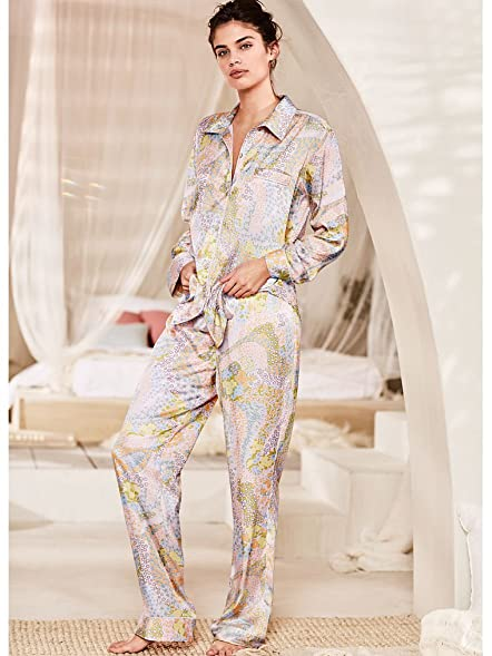 Victorias Secret The Afterhours Satin Pajama Cool Floral (Small (Short))
