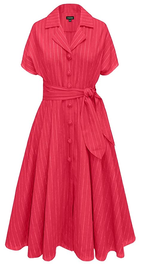 1950s Day Dresses Pinstripe Button Dress $263.35 AT vintagedancer.com