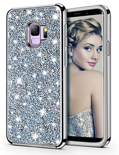 Bling Crystal - HoneyAKE Galaxy S9 Case Glitter Bling Luxury Sparkly Crystal Rhinestone Diamond Dual Layer High Impact Hard PC Back Cover Soft Bumper Shockproof Protective Case for Galaxy S9(Blue)