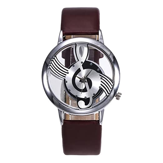 Amazon.com: Womens Fashion Leather band watches Stainless Steel Musical dial symbol watch,GINELO (Coffee): Cell Phones & Accessories