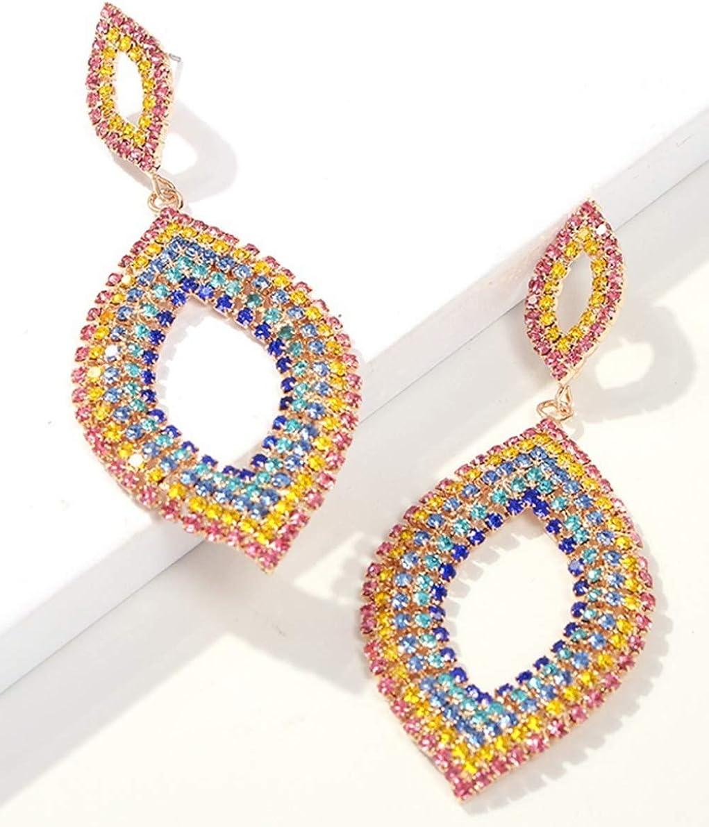 Ookmngft Pendientes para mujer Personalidad Aleación de moda Diamantes con incrustaciones de borlas Pendientes largos para mujer