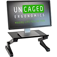 WorkEZ Monitor Stand ergonomic adjustable height and angle single computer monitor riser. Portable folding aluminum…