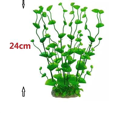 LMKIJN Bonita Ornamento de Las Plantas de la Hierba del Acuario Artificial de los 24cm para