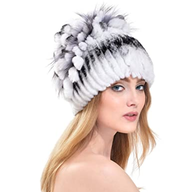 b4b7c1f852855 Rex Rabbit Fur Hat - Women Winter Knitted Real Fur Beanie Cap ...
