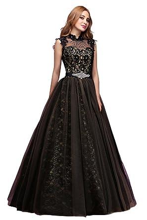 Amazon Vimans Womens Long Black Beaded Lace Wedding Reception