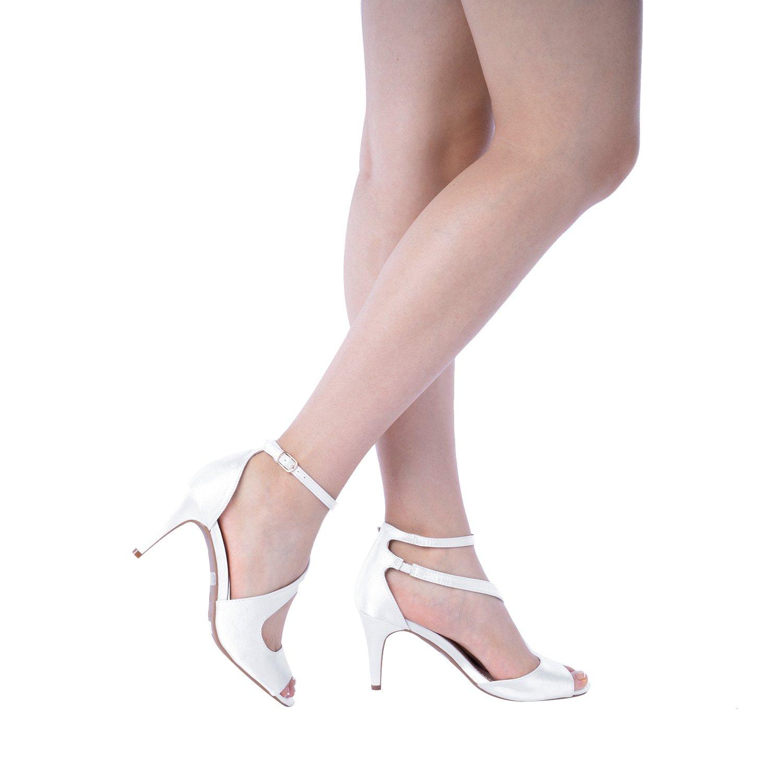 DREAM PAIRS Women's NILE White Satin Fashion Stilettos Open Toe Pump Heel Sandals Size 9.5 B(M) US by DREAM PAIRS (Image #6)