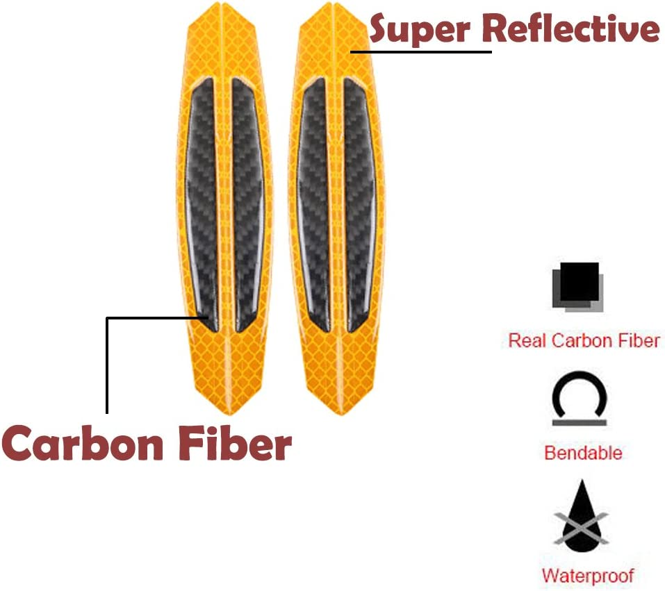 GTINTHEBOX 3D Super Reflective Yellow Stickers w//Real Carbon Fiber Strips Car Side Door Edge Bumper Anti-Scratch Protection Guards Trim Stickers Universal Fit Car SUV Pickup Truck etc 4PCS
