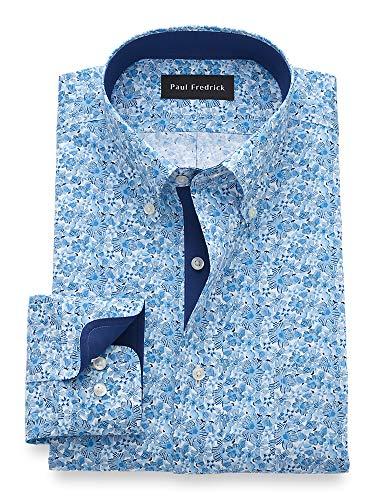 Paul Fredrick Men's Tailored Fit Non-Iron Cotton Floral Button Down Dress Shirt