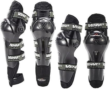 4Pcs Motorcycle Knee Elbow Adult Shin Armor Bike Protector Guard Pad Black