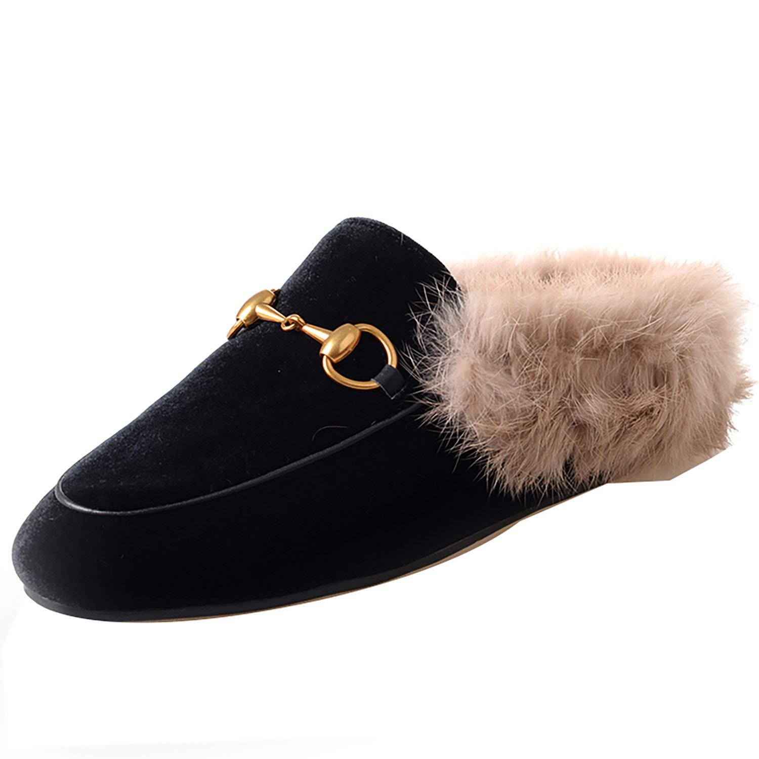 Black velvet HEETIST Backless Faux Fur Mules for Women, Round Toe Yellow Suede Flats Outdoor Slipper Flats shoes
