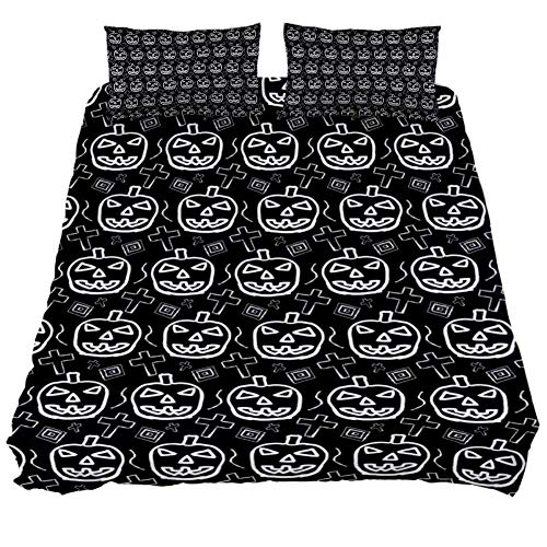 LORVIES Hand-Skected Scary Halloween Pumpkin Pattern Duvet Cover Sets, Decorative 3 Piece Bedding Sets with Pillow Shams for Men Women Boys Girls Kids Teens -