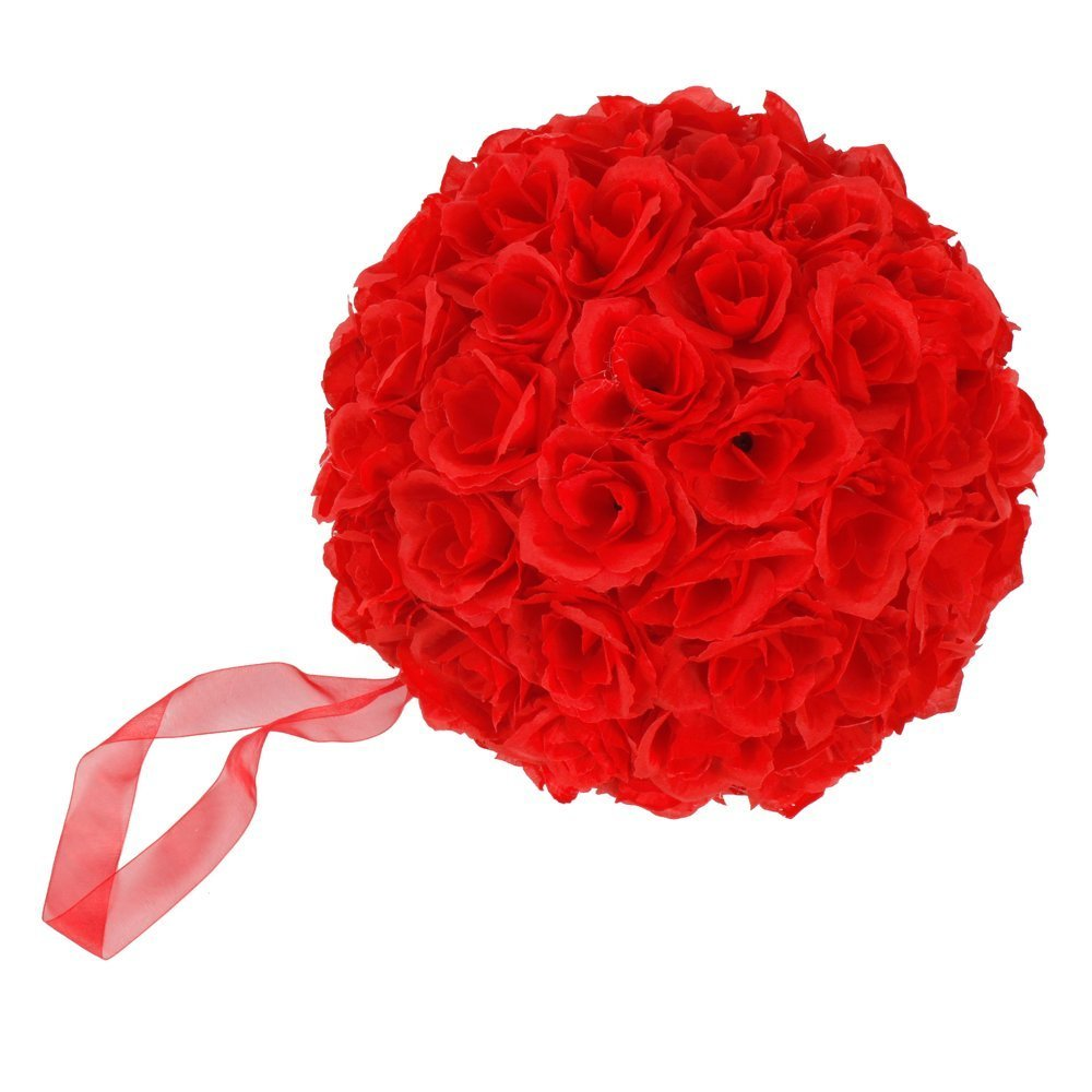 Leadzm 10 Inch Artificial Romantic Rose Flower Ball for Home Outdoor Wedding Party Centerpieces Decorations (10PIECE, Dark Red)
