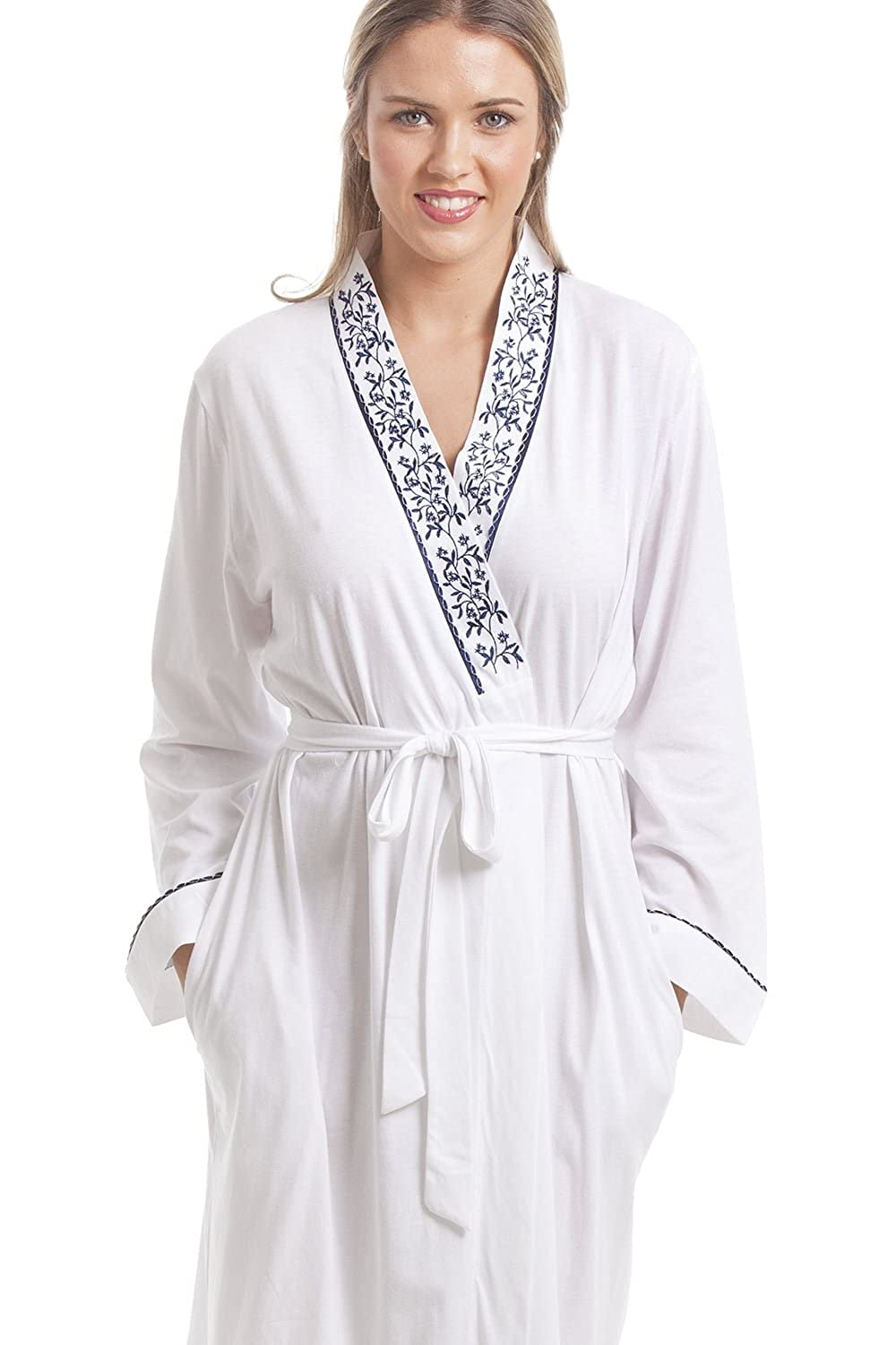 Camille Classic Womens Ladies White Bathrobe with Navy Floral Design at  Amazon Women s Clothing store  a44f25cce