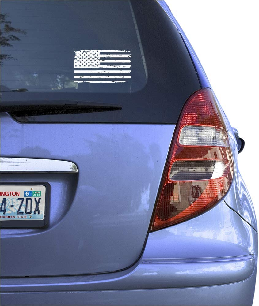 Distressed US Flag Sign Art Print Design-Metallic Silver American Flag Clear Vinyl Decal Sticker for Window