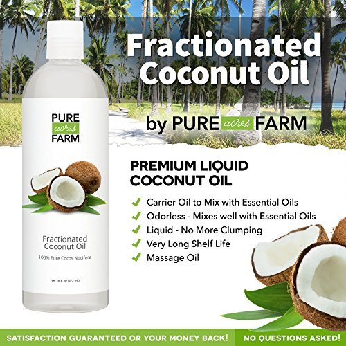 Fractionated Coconut Oil (Liquid) - Large 16oz - WITH PUMP + FREE Recipe eBook! - Use with Essential Oils and Aromatherapy as a Carrier and Base oil - Add to Roll-On Bottles for Easy Application