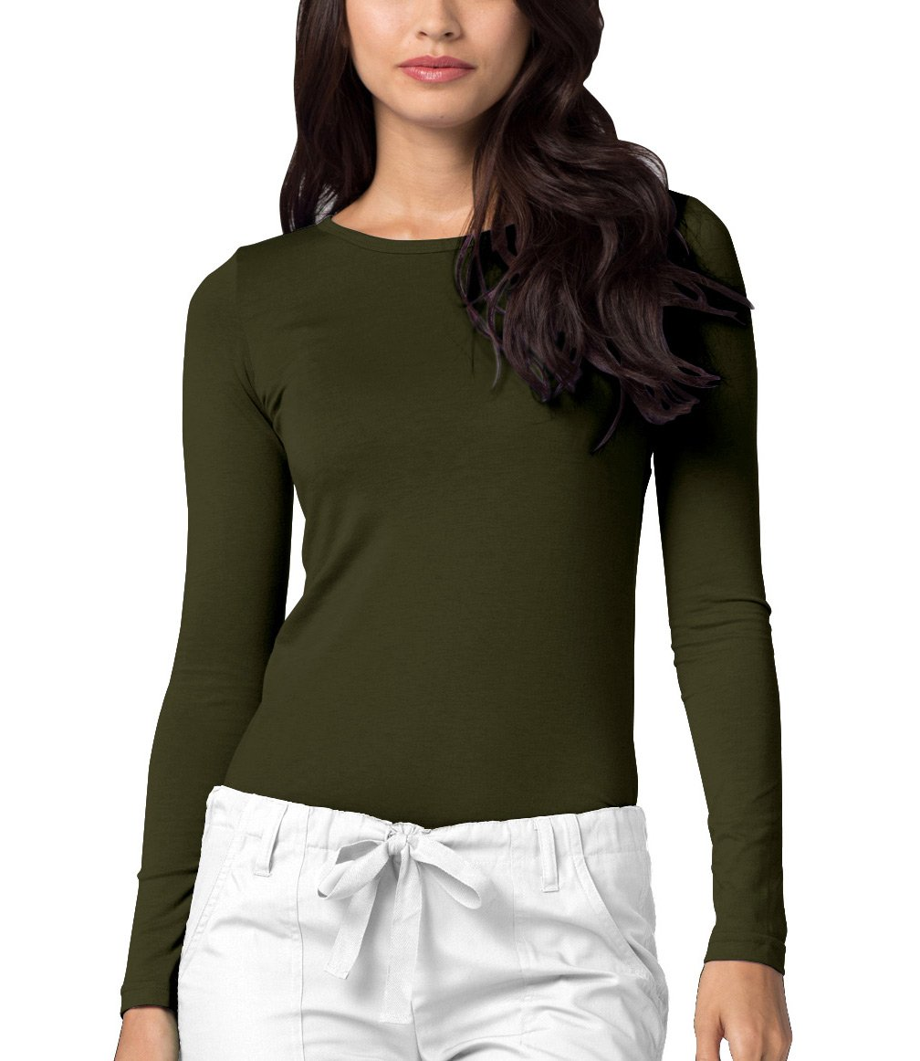 Adar Womens Comfort Long Sleeve T-Shirt Underscrub Tee - 2900 - Olive - XL
