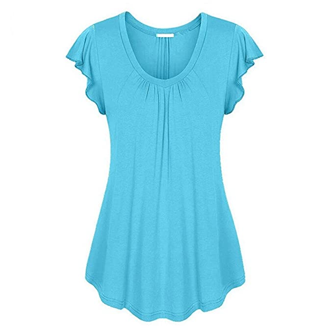 Hibote Plus Size Mujeres Vintage Blusas Plain T-Shirts Camisas Manga Corta Tops Cuello Redondo